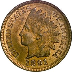 1891 1C MS obverse