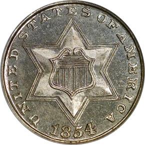1854 3CS PF obverse