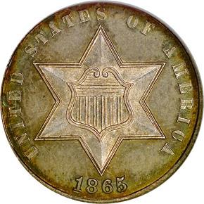 1865 3CS MS obverse