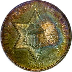1868 3CS MS obverse