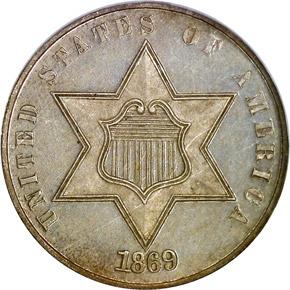 1869 3CS PF obverse