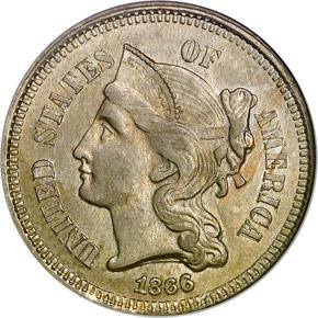 1866 3CN MS obverse