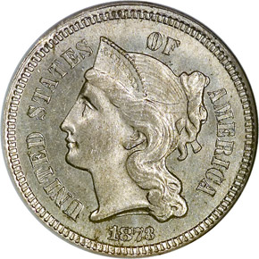 1873 CLOSED 3 3CN MS obverse