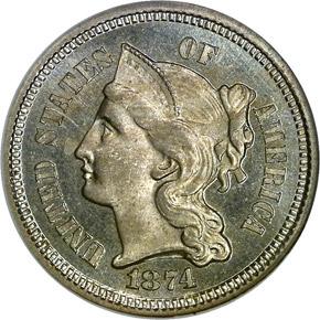 1874 3CN PF obverse