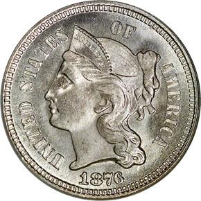 1876 3CN MS obverse