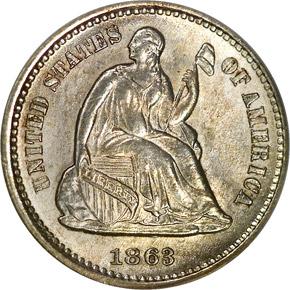 1863 S H10C MS obverse
