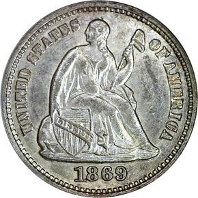 1869 S H10C MS obverse