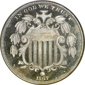 1867 RAYS 5C PF obverse