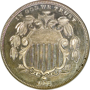 1868 5C PF obverse