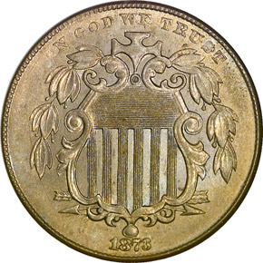 1873 OPEN 3 5C MS obverse