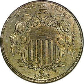 1876 5C MS obverse