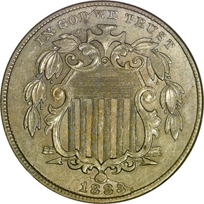 1883/2 SHIELD 5C MS obverse