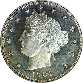 1908 5C PF obverse