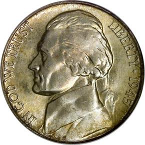 1945 D 5C MS obverse