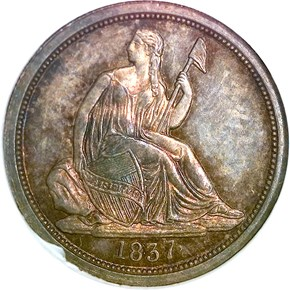 1837 SEATED 10C PF obverse