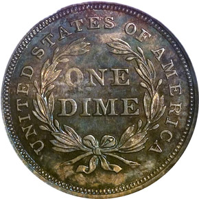 1837 SEATED 10C PF reverse