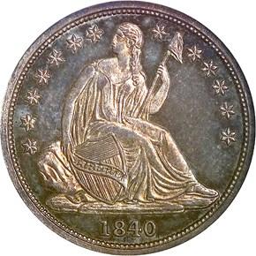 1840 NO DRAPERY 10C PF obverse