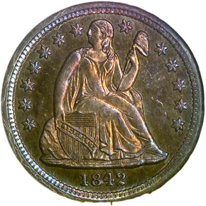 1842 10C PF obverse