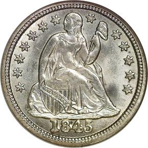 1845 10C MS obverse