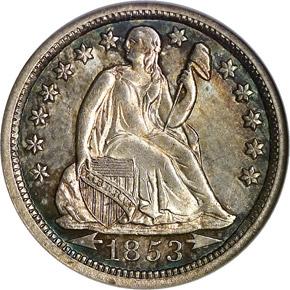 1853 O ARROWS 10C MS obverse