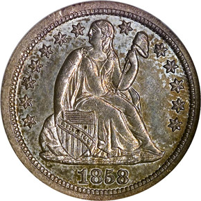 1858 S 10C MS obverse