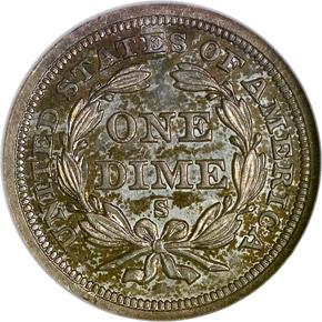 1858 S 10C MS reverse