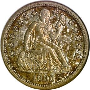 1860 S 10C MS obverse