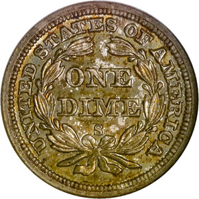 1860 S 10C MS reverse