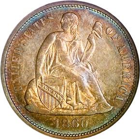 1860 O 10C MS obverse