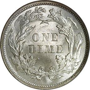 1861 10C MS reverse