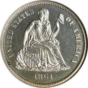 1861 10C PF obverse