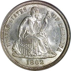 1862 10C MS obverse