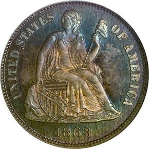 1863 10C PF obverse