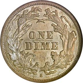 1863 S 10C MS reverse