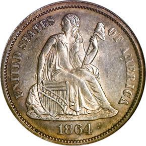 1864 10C MS obverse