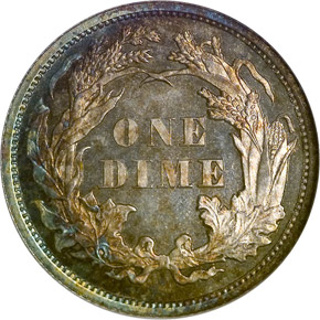 1864 10C PF reverse