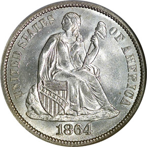 1864 S 10C MS obverse
