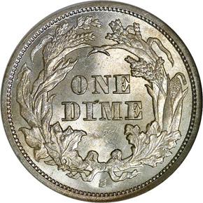 1864 S 10C MS reverse