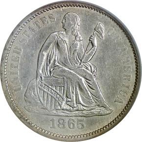1865 S 10C MS obverse