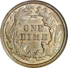 1865 S 10C MS reverse