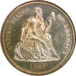 1866 10C MS obverse