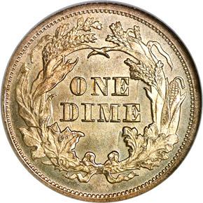 1866 10C MS reverse