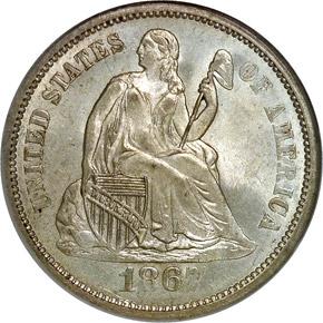 1867 S 10C MS obverse