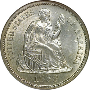 1868 S 10C MS obverse