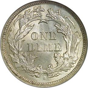 1868 S 10C MS reverse