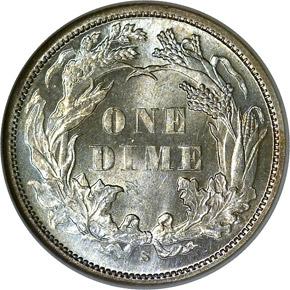 1870 S 10C MS reverse