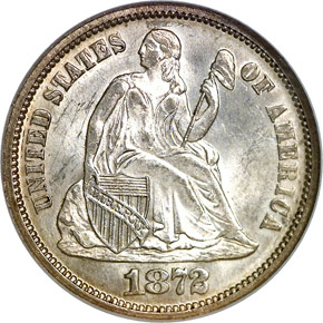 1872 10C MS obverse