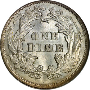 1872 10C MS reverse