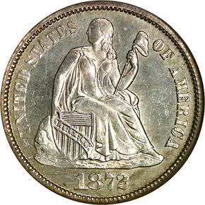1872 S 10C MS obverse