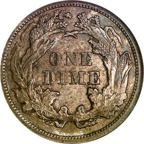 1873 OP 3 NO ARROWS 10C MS reverse